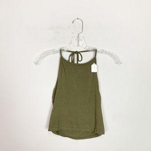 Brandy Melville olive green crop top halter OS